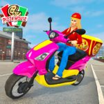 Moto Bike Pizza Delivery – Girl Food Game  (MOD, Unlimited Money)1.0